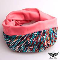 """Двусторонний шарф + капюшон с принтом """"калейдоскоп"""", фото 1"""