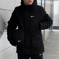 Зимняя мужская парка (куртка) Nike, черная РАСПРОДАЖА!, фото 1