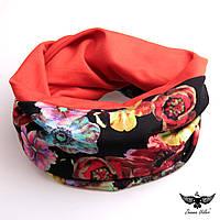 Яркий двусторонний шарф-снуд с цветочным принтом, фото 1