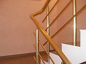 Перила алюминиевые круглые, цвет золото с леерами., фото 3