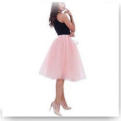 Юбка женская из фатина пудрового цвета  с подкладом. Комплекты Мама+дочка.Пошив в любом цвете и размере