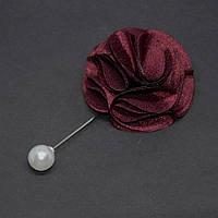 "Брошь булавка бордо ""Цветок"" из ткани, диаметр 55мм, длина 94мм"