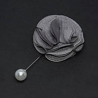 "Брошь булавка серый ""Цветок"" из ткани, диаметр 55мм, длина 94мм"