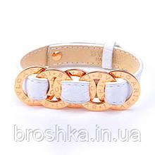 Кожаный белый браслет Bvlgari ювелирная бижутерия