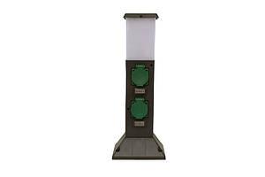 Уличная розетка с подсветкой, мех. таймер, 2 розетки, лампа 15ВАтт, цоколь Е14, без кабеля GSL-402P