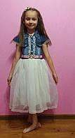 Нарядное джинсовое платье на девочек 5-6-7-8 лет Flaviano