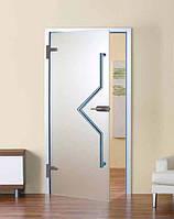 Дверь самодоводящаяся полуавтоматическая 800 х 2100 мм из закаленного стекла матового 10 мм