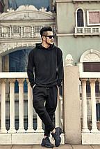 Теплые спортивные черные штаны с начесом, фото 3