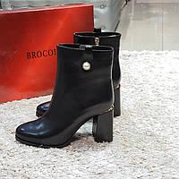 Ботинки женские зимние из натуральной кожи и натурального меха на каблуке черные