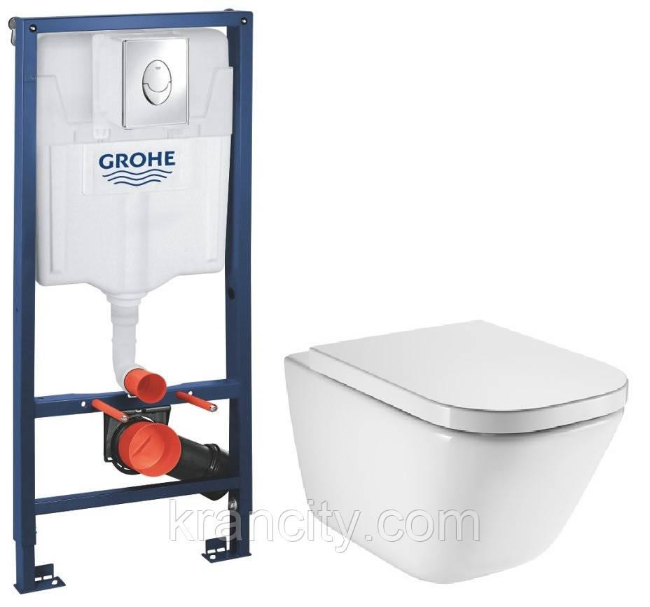 Инсталляция GROHE Rapid SL 38721001 + унитаз ROCA Gap A34H47C000/A34647L000 с сиденьем SoftClose А80148200U