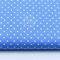 Ткань хлопковая с горошком 4 мм на тёмно-голубом, №1686