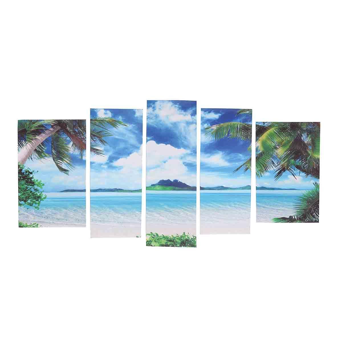 5Pcs Unframed Canvas Paint Seascape Пляжный Картины Современный декор домашнего интерьера 1TopShop