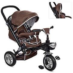 Трехколесный велосипед с регулируемой спинкой на надувных колесах, M AL3645A-13 шоколад