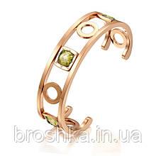 Позолоченный литой браслет Bvlgari с камнями