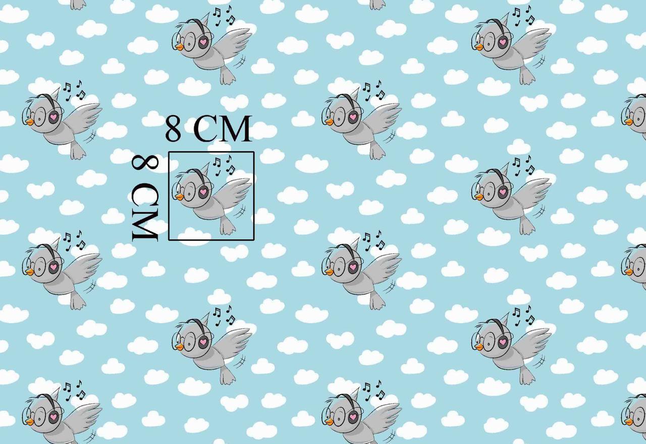 Хлопковая ткань польская птички в наушниках и белые облака на лазурном отрез (размер 2,9*1,6 м)