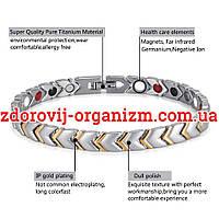 Терапевтический магнитный турмалиновый браслет женский (Визион) сильвер