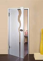 Дверь самодоводящаяся полуавтоматическая 800 х 2100 мм из закаленного стекла с матовым узором 10 мм
