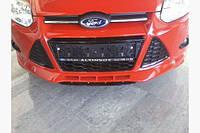 Накладка на передний бампер HB (под покраску) - Ford Focus III 2011+ и 2015+ гг.