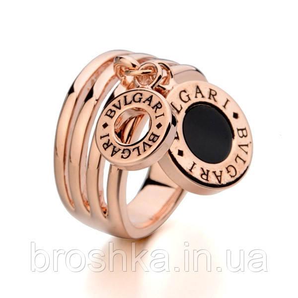 Кольца Bvlgari бижутерия в розовой позолоте с подвесками