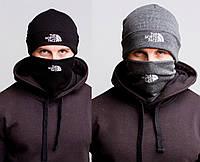 Зимовий чоловічий комплект The North Face баф+шапка чорна