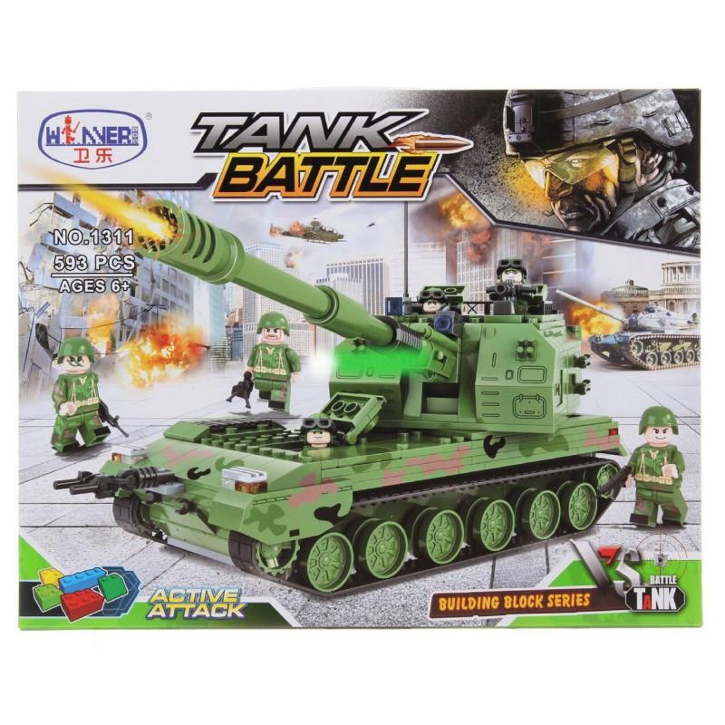 """Конструктор """"САУ 155 мм """"PLZ-05"""" 1311 Танк с оружием Китайская военная техника 593 детали"""