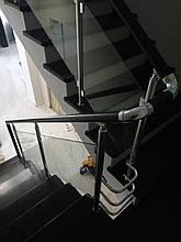 Перила алюминиевые круглый профиль со стеклом, фото 2