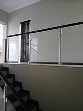 Перила алюминиевые круглый профиль со стеклом, фото 3