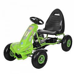 Детский педальный карт на надувных колесах, Bambi M 3474-5 зеленый