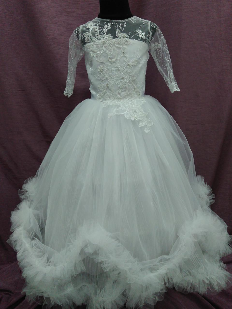 Платье детское нарядное с пушистой юбочкой белое на 6-9 лет