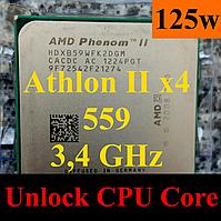 Процессоры  (б/у) AMD Athlon  II X4 559 (Phenom II X4 965), 3,4ГГц, sAM3, Tray   955 945