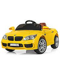 Детский электромобиль БМВ 7 серии M 2773 EBLR-6, кожаное сиденье и мягкие колеса