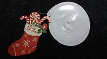 Новогодняя гирлянда белая - 1шт., размер сапога 14*8см, картон, фольга