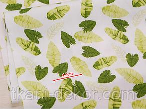 Сатин (хлопковая ткань) мелкие зелено-салатовые листья