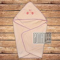 Детское махровое полотенце уголок с капюшоном уголком для купания новорожденных 80х78 см 4556 Персиковый