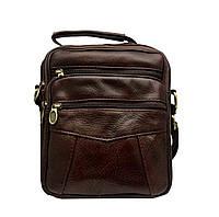 Мужская кожаная сумка на два отделения через плечо 22х19