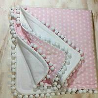 Конверт- плед детский демисезонный  из белого  флиса и хлопка  розового цвета для малыша