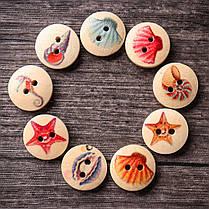 100PCSOceanКруглыйШаблонДеревянная кнопка Mixed 2 Hole Natural Sewing Handmade Clothes Кнопки 1TopShop, фото 3
