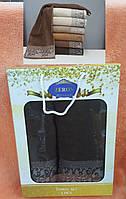 Набор махровых  полотенец Хлопок 1+1  (TM Zeron) темно-коричневый,Турция, фото 1