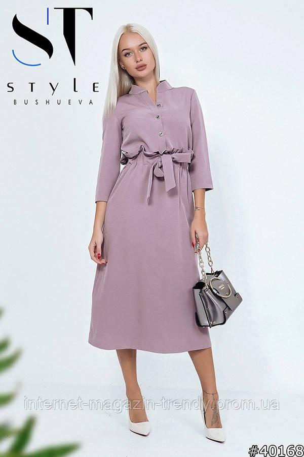 Платье миди с высокой талией на резинке в четырех расцветках  ИБР50364092