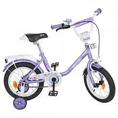 Детский двухколесный велосипед Flower Profi 14 дюймов, Y1483 фиолетовый