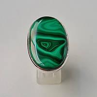 Натуральный малахит в серебре кольцо  женское