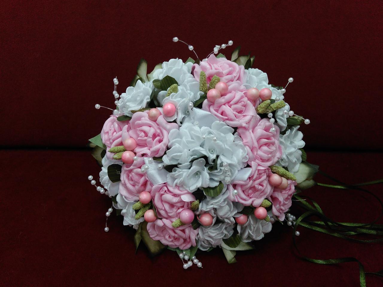 Свадебный букет-дублер белый с розовым