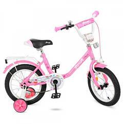 Детский двухколесный велосипед Flower Profi 14 дюймов, Y1481 розовый