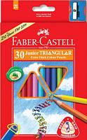 Набор цветных карандашей Faber Castell 30 цветов ТРЕХГРАННЫЕ JUMBO Картонная коробка