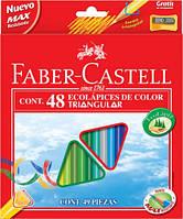 Набор цветных карандашей Faber Castell 48 цветов + ТОЧИЛКА ТРЕХГРАННЫЕ Картонная коробка