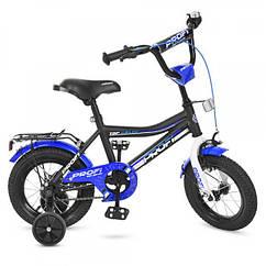 Детский двухколесный велосипед Top Grade Profi 12 дюймов, Y12101 черный матовый