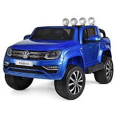 Детский 4-моторных электромобиль Джип Volkswagen Amarok с кожаным сиденьем, M 3600 EBLRS-4 синий автопокраска