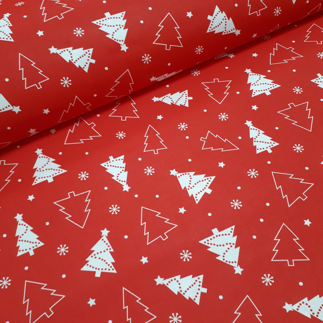 Ткань новогодняя хлопковая, белые елки на красном отрез (0,45*1,6 м)
