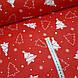 Ткань новогодняя хлопковая, белые елки на красном отрез (0,45*1,6 м), фото 2