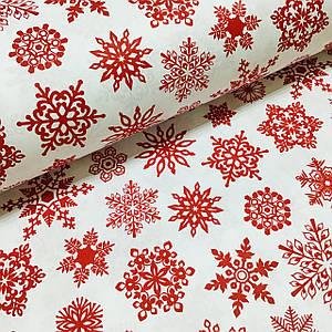 Ткань поплин красные снежинки на белом (ТУРЦИЯ шир. 2,4 м) №32-112 отрез (размер 0,85*2,4 м)